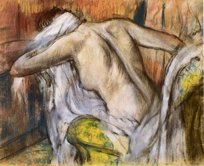 After the Bath Woman Drying Herself 1888 1892 Private collection Drawing pastel