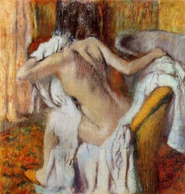 After the Bath Woman Drying Herself circa 1890 1895 National Gallery London England Drawing pastel