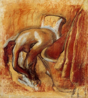 After the Bath Woman Drying Herself circa 1900 1905 Private collection Drawing charcoal