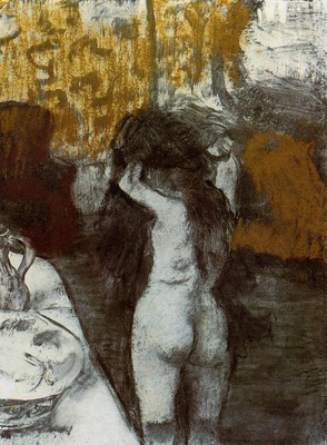 After the Bath circa 1876 1877 Private collection Drawing pastel