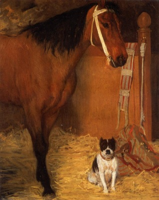 At the Stables Horse and Dog circa 1862 Private collection Painting oil on canvas