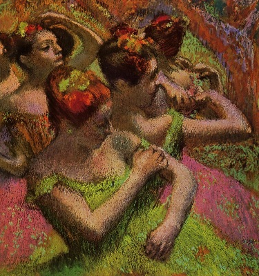 Ballerinas Adjusting Their Dresses circa 1899 Private collection Drawing pastel