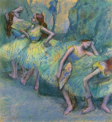 Ballet Dancers in the Wings circa 1900 St  Louis pastel