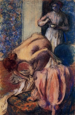 Breakfast after Bathing also known as The Cup of Coffee circa 1894 Private collection pastel