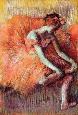 Dancer Adjusting Her Sandel circa 1896 Private collection pastel