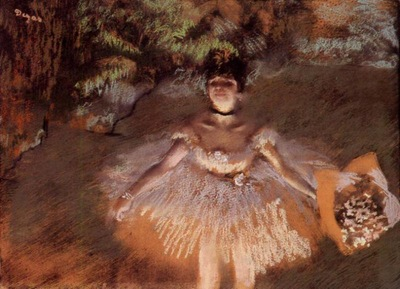 Dancer Onstage with a Bouquet circa 1876 Private collection pastel