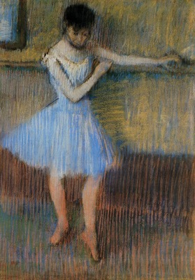 Dancer in Blue at the Barre circa 1889 Private collection pastel