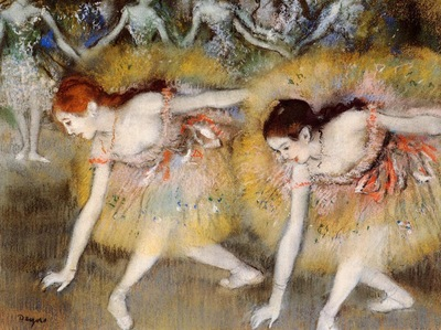 Dancers Bending Down also known as The Ballerinas 1885 Private collection pastel