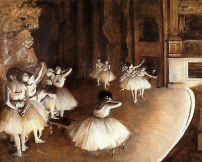 The Ballet Rehearsal on Stage 1874 Musee d Orsay France
