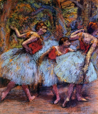 Three Dancers Blue Skirts Red Blouses 1903 PC