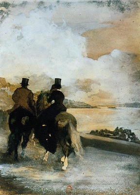 Two Riders by a Lake circa 1861 Biblioteque Nationale de France France