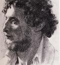 Edgar Degas Portrait d un italien Dessin Fusain 38x26 cm Chicago art Institute