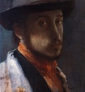 Degas au chapeau moi Huile sur papier maroufle 26x19 cm Williamstown Clark Art Institute