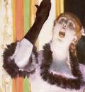 Chanteuse de Cafe la chanteuse au gant Pastel et detrempe sur huile