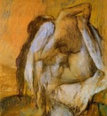 After the Bath Woman Drying Herself circa 1895 1905 Staatsgalerie Stuttgart Germany Drawing pastel