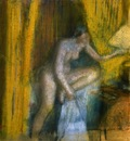 Bedtime also known as Woman Extinguishing Her Lamp circa 1883 Private collection oil on canvas