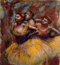 Three Dancers  Yellow Skirts Blue Blouses 1896 PC