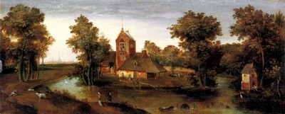 Grimmer Abel A Moated Tower With Farmhouses