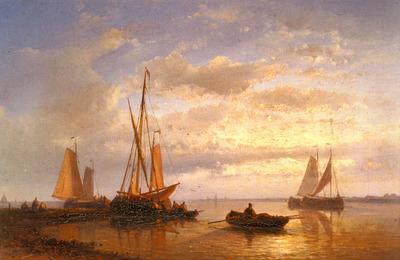 Hulk Abraham Dutch Fishing Vessels In A Calm At Sunset