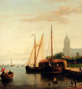 Hulk Johannes Frederik A Moored Haybarge And Other Shipping By A Bleach Field