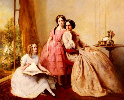 Solomon Abraham A Portrait Of Two Girls With Their Governess