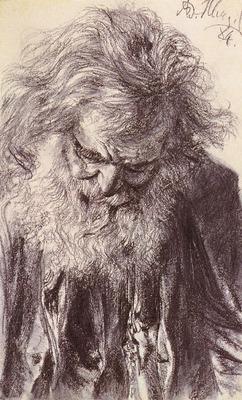 Menzel Adolf Friedrich Erdmann Portrait Of An Old Man