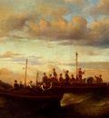 Monticelli Adolphe Joseph Thomas Italian Fishing Vessels At Dusk