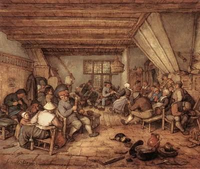 OSTADE Adriaen Jansz van Feasting Peasants In A Tavern