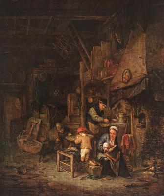 OSTADE Adriaen Jansz van Interior With A Peasant Family