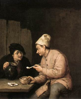OSTADE Adriaen Jansz van Piping And Drinking In The Tavern