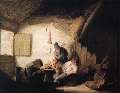 OSTADE Adriaen Jansz van Village Tavern With Four Figures
