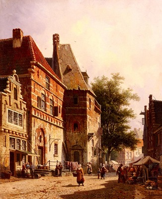 Eversen Adrianus A Sunlit Street On Market Day