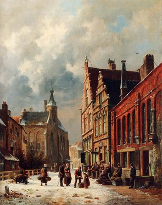 Eversen Adrianus A View In A Town In Winter