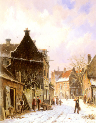Eversen Adrianus A Village Street Scene In Winter