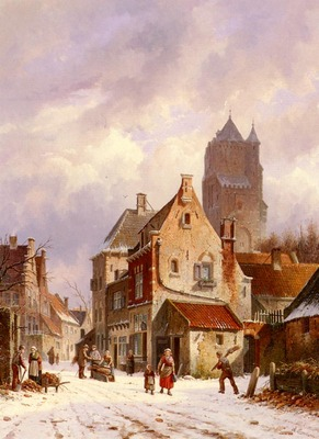 Eversen Adrianus A Winter Street Scene