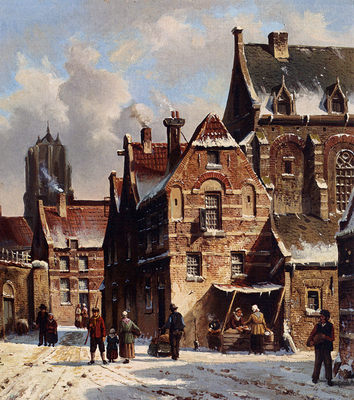 Eversen Adrianus Figures In The Streets Of A Wintry Town