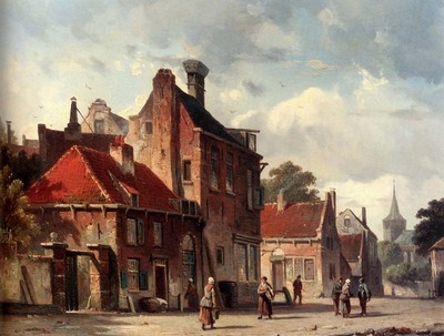 eversen Adrianus View Of Town With Figures In A Sunlit Street