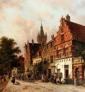 Eversen Adrianus A View In Delft