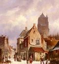 Eversen Adrianus A Winter Street Scene