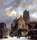 Eversen Adrianus Figures In A Snowy Village Street