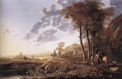 CUYP Aelbert Evening landscape With Horsemen And Shepherds