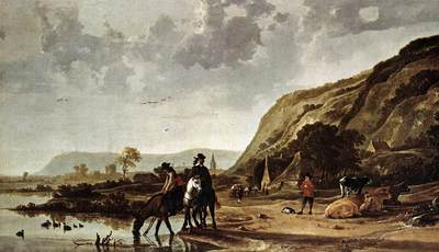 CUYP Aelbert Large River Landscape With Horsemen