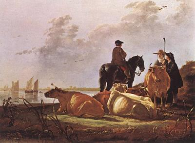 CUYP Aelbert Peasants With Four Cows By The River Merwede