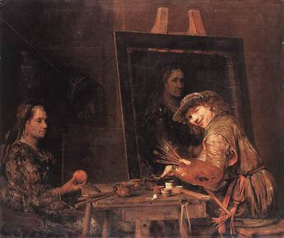 GELDER Aert de Self Portrait At An Easel Painting An Old Woman