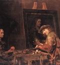 GELDER Aert de Self Portrait At An Easel Painting An Old Woman