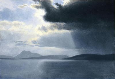 Bierstadt Albert Approaching Thunderstorm on the Hudson River