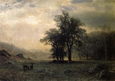 Bierstadt Albert Deer in a Landscape