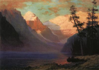 Bierstadt Albert Evening Glow Lake Louise