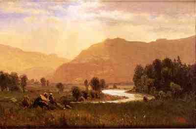 Bierstadt Albert Figures in a Hudson River Landscape