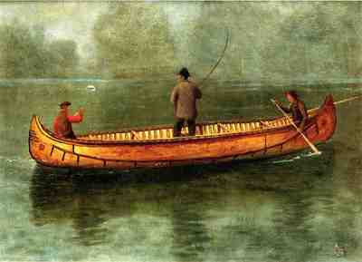 Bierstadt Albert Fishing from a Canoe